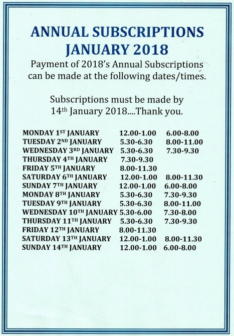 Annual Subscriptions 2018