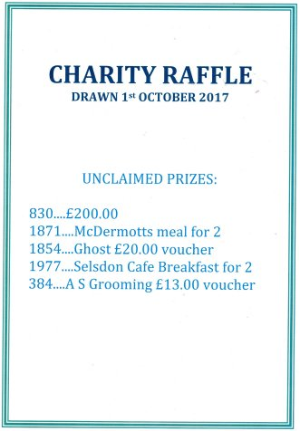 Charity Raffle Prizes Unclaimed!
