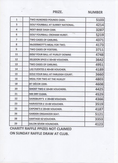 Charity Raffle Draw - The Winning Numbers